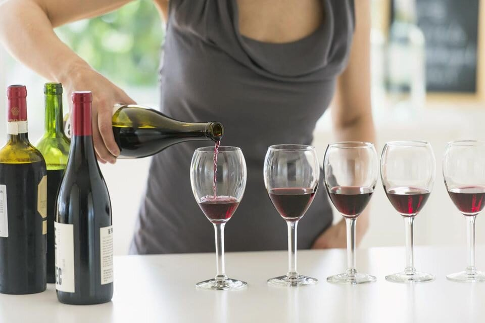 pour wine for a tasting
